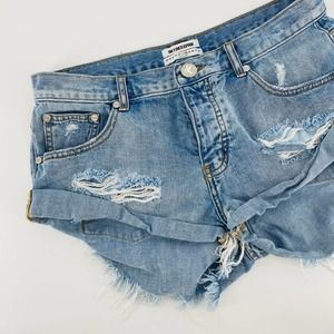 One Teaspoon Destroyed Distressed Booty Shorts